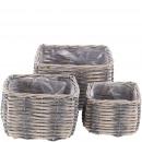 Plant basket Rayo, set of 3, L23 / 18 / 14cm, gray